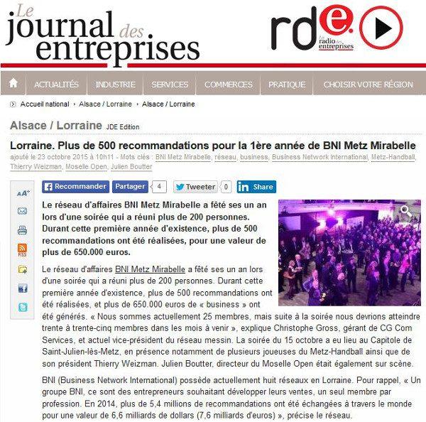 20151023 Journal des Entreprises